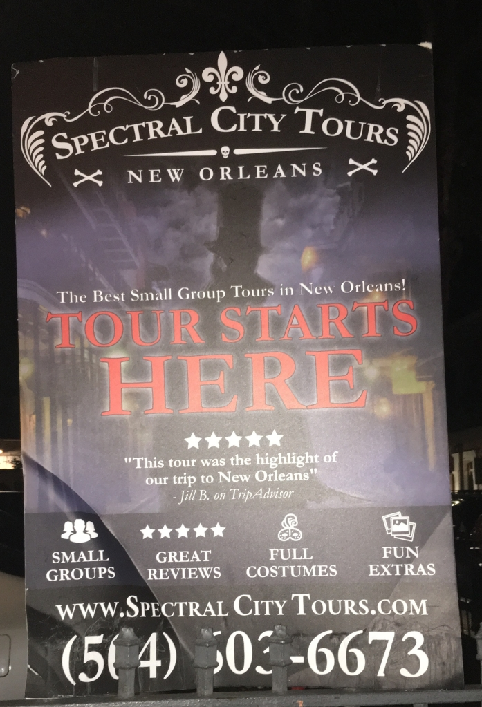 haunted tour sign